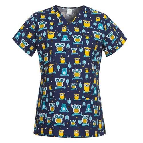 bluze medicale cu imprimeu bufnite