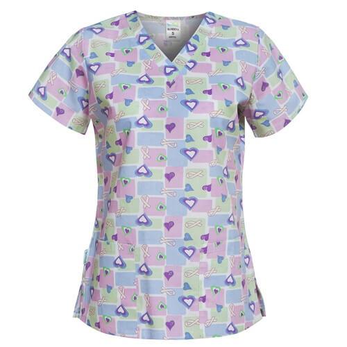 bluze medicale cu imprimeu mov