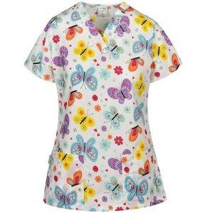 bluze medicale cu imprimeu fluturi