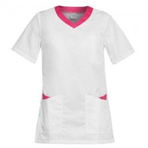 bluza medicala alb roz