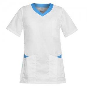 bluza medicalla dama alb turcoaz