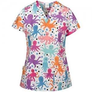 bluza medicala cu imprimeu caracatita