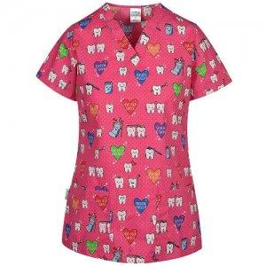 bluza medicala cu imprimeu stomatologie