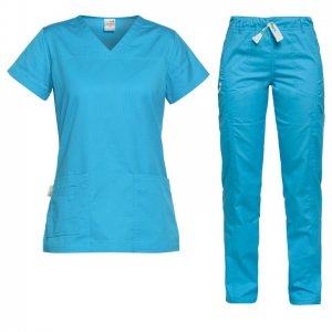 costum medical pentru dama albastru