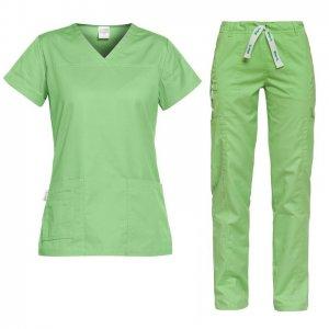 costum medical pentru dama verde