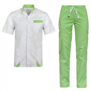 costum medical barbat alb verde