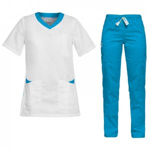 costum medical femei alb turcoaz