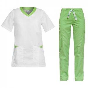 costum medical dama alb verde