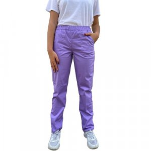 pantaloni medicali lila cu elastan