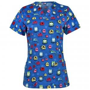 bluza medicala dama albastra cu imprimeu broscute