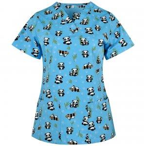bluza medicala dama imprimeu bleu