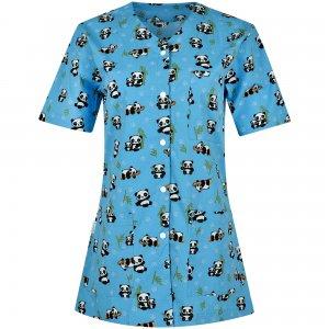 halat medical bleu de dama cu capse si imprimeu