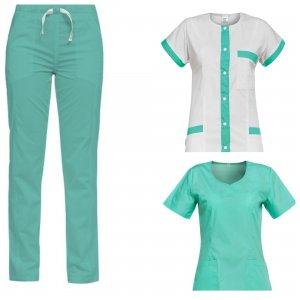 costum medical dama verde 3 piese: 2 bluze si 1 pantalon medical