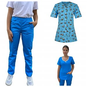 costum medical dama 3 piese bleu