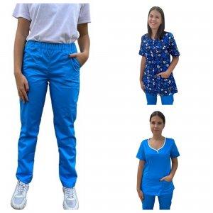 costum medical dama 3 piese albastru