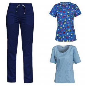 costum medical 3 piese albastru