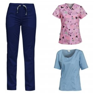 costum medical dama 3 piese bleumarin bleu si roz