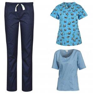 costum medical dama albastru 3 piese: 2 bluze si 1 pantalon medical